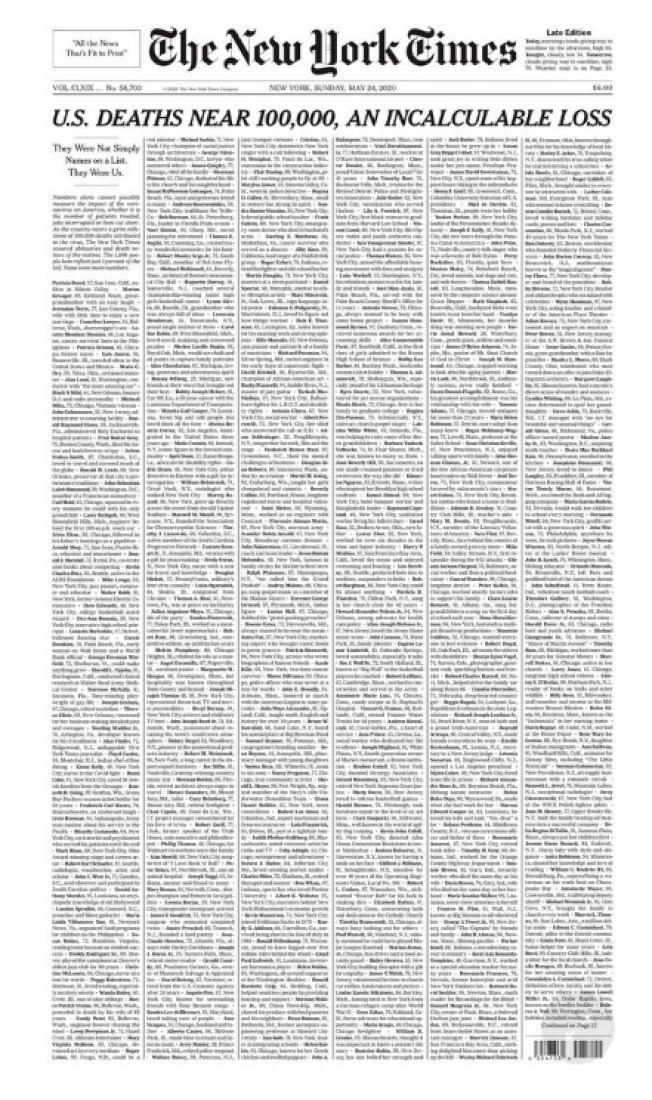 紐約時報24日頭版以「美國死亡人數逼近10萬,無法計算的損失」為標題刊載全頁訃聞(取自紐約時報)