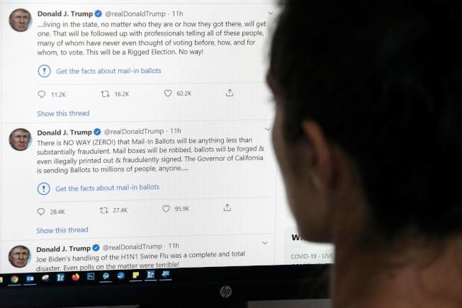 推特首度對川普推文開鍘。(Getty Images)