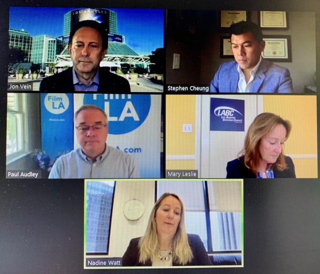 洛杉磯商會(L.A. Business Council)25日舉辦新冠肺炎對洛杉磯經濟影響(COVID-19's Impact on L.A.'s Economy)的線上會議。(網路截圖)
