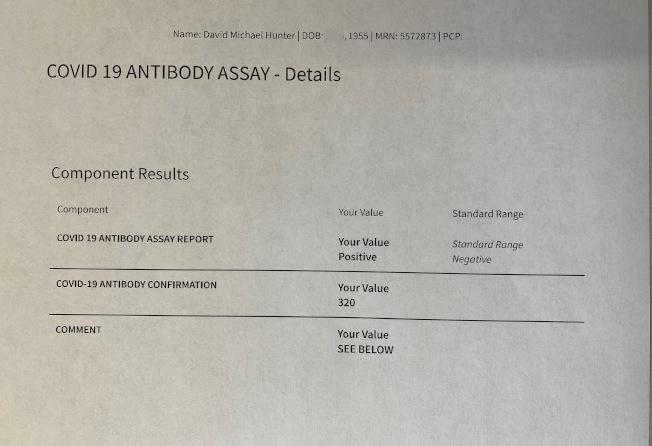 謝嘉燕的丈夫檢測出有新冠抗體。(謝嘉燕提供)