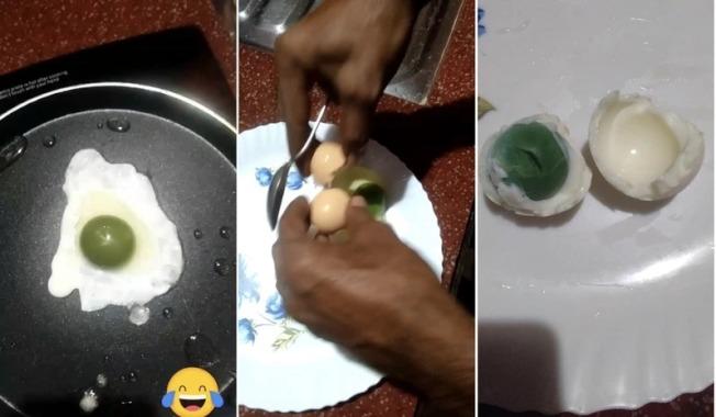 這種特殊的蛋不管用煎的還是水煮,蛋黃依然呈現綠色。(取材自臉書)