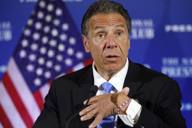 圖為紐約州長葛謨(Andrew Cuomo)27日在白宮面見總統川普後舉行記者會。美聯社