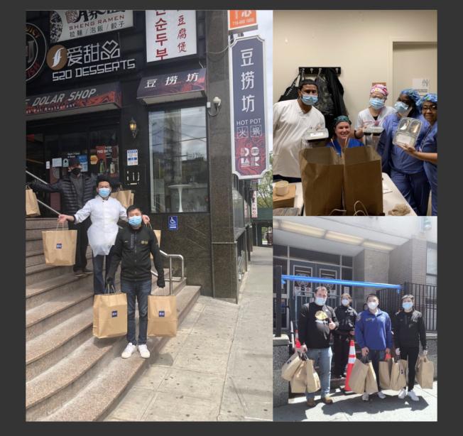 法拉盛豆撈坊每天分送20個飯盒到法拉盛社區醫院、皇后區長老醫院(NYPQ)和109分局。