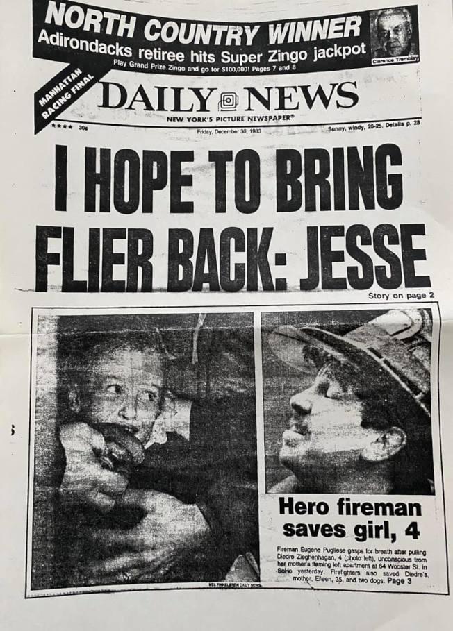 普里茲當年將泰勒救出來後,報紙刊登的新聞照片。(取自泰勒臉書)