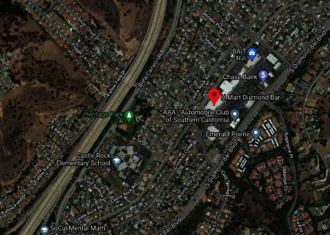 鑽石吧大道地理位置便捷,靠近57號和60號高速公路,嫌犯得手後很容易駕車逃逸。(谷歌地圖截圖)