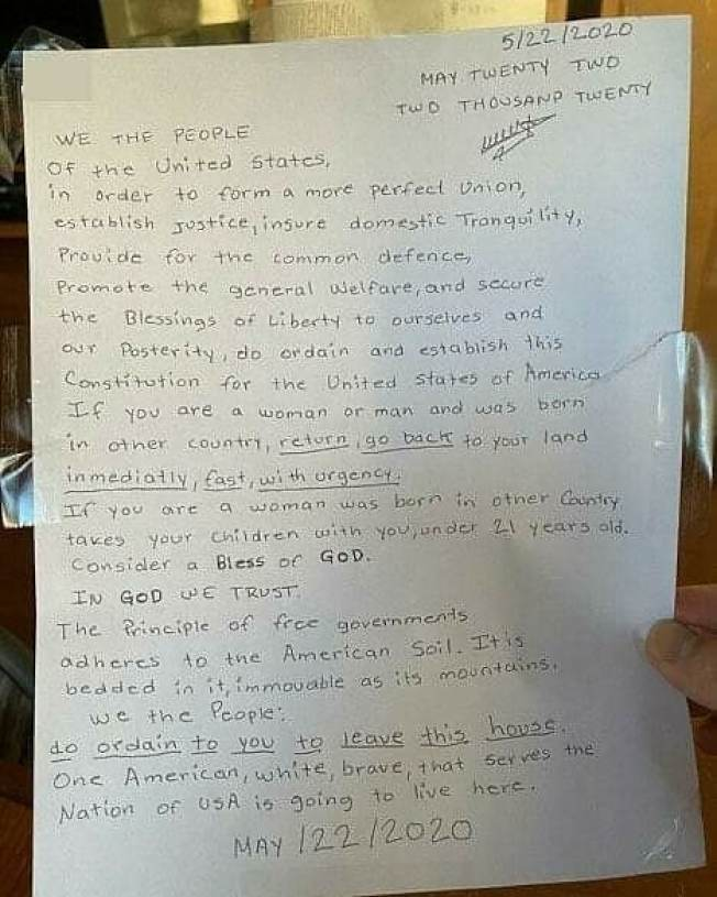 排外信要求亞裔離開美國。(取自臉書)