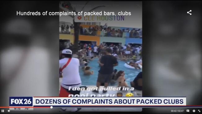 休士頓一家酒吧國殤日周末被擠爆的影片,讓醫學專家看了氣炸。(FOX26電視台)