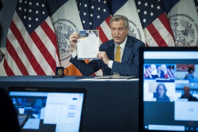白思豪表示紐約市在6月中上旬將進行第一階段重啓。(市長辦公室提供)
