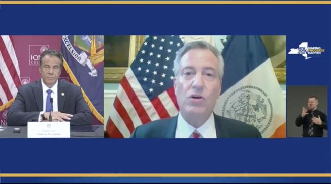 白思豪(右)在州長每日疫情新聞會議上連線,表示市府有信心6月8日重開。(州長新聞發佈會截圖)