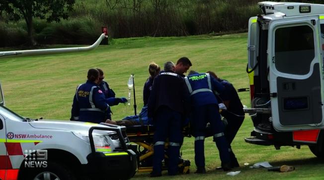 澳洲新南威爾斯省29日驚傳一位動物園管理員打掃籠舍遭兩頭獅子攻擊、身受重傷,被直升機送往醫院搶救。畫面翻攝:Nine News