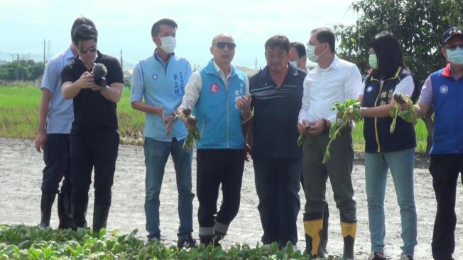 高雄市長韓國瑜30日上午到梓官蔬菜專區勘災。(記者王昭月/攝影)