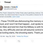 明州示威  川普推文「開始搶,就開槍」被推特加註警語