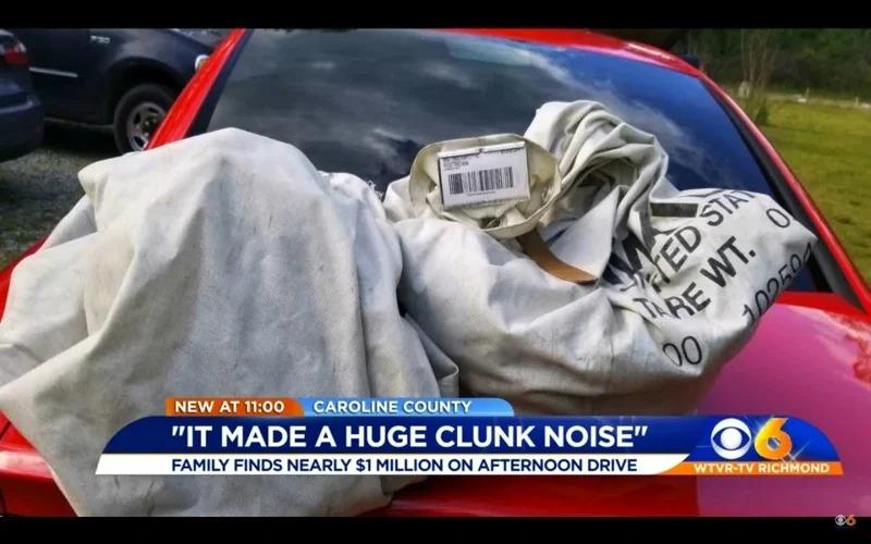 艾蜜莉帶著家人到戶外兜風,卻意外撿到藏有100萬美元的行李包。取材自WTVR CBS 6 News