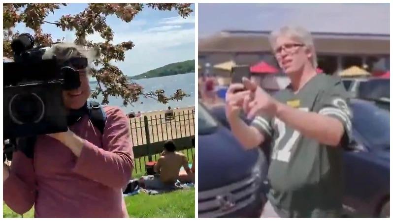 美國MSNBC新聞台採訪小組25日在威斯康辛州日內瓦湖進行現場連線採訪,原本企圖凸顯民眾沒有戴口罩防疫,卻當場持手機反拍的路人歐森(右)吐槽,「你的攝影師也沒戴啊!」、「半個小組都沒戴!」。取材自推特