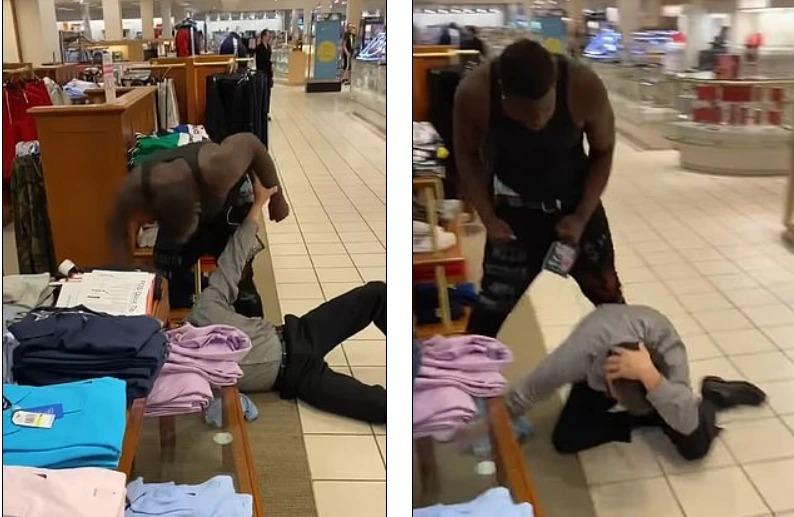 黑人顧客對白人店員施暴。取材自YouTube