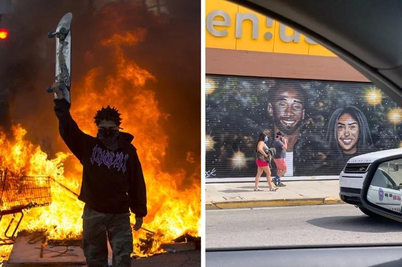 美國非裔男子遭白人警察以膝蓋壓頸致死,全美抗議遍地開花,有些示威者會縱火、塗鴉發洩情緒,但唯獨畫有已故籃球明星柯比的壁畫,完好無損。圖/美聯社、Twitter「LegionHoops」