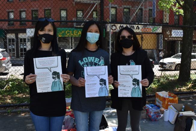 該活動將三名關心華埠社區的女性發起。左起為丘嘉媚、伍麗卿和伍玉婷。(記者顏嘉瑩/攝影)