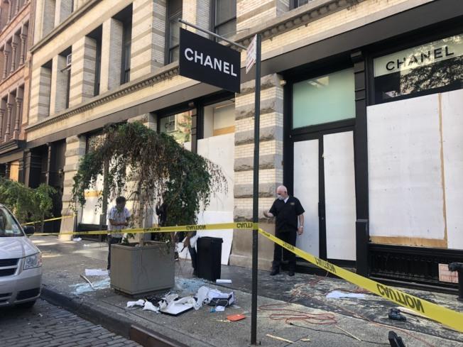 SoHo區的商店都遭破壞。記者張晨/紐約攝影