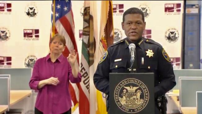 舊金山警察局長史考特(右)表示警方已經盡其所能維持市中心秩序。(市府直播視頻截圖)