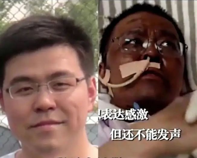 武漢醫師胡衛鋒因感染新冠肺炎容貌大變,左圖為胡衛鋒染疫前。(取材自微博)