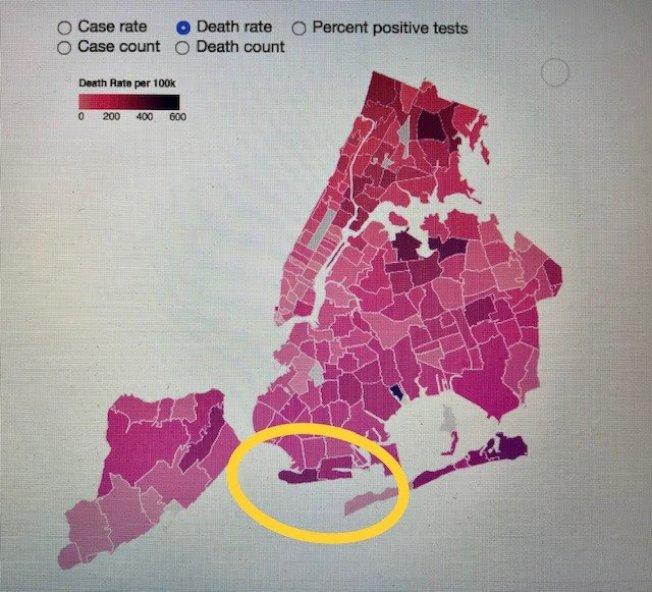 市府最新數據顯示,人口密度相比曼哈頓低的康尼島有著高新冠死亡率,在全市社區排名第五。(市衛生局提供)