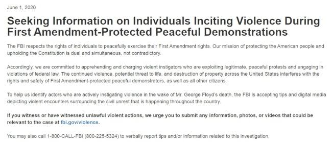 FBI在其官網上發布徵集參與打砸搶暴力活動參與者的視頻信息的通知。(FBI官網截圖)