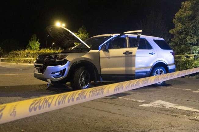 委利賀嫌犯使用的SUV。嫌犯棄車而逃,被警察當場逮住。(Getty Images)