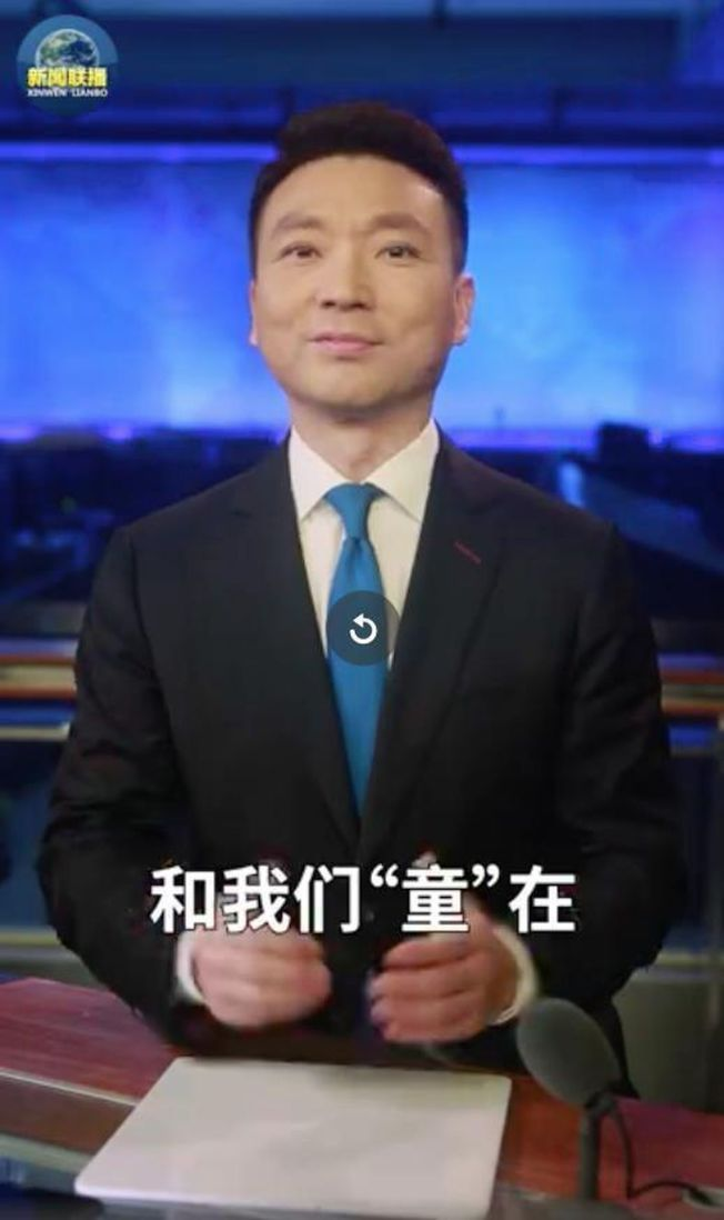 康輝選在六月一日兒童節回歸「新聞聯播」,有網友稱這是一個他給大人觀眾的兒童節禮物。(視頻截圖)