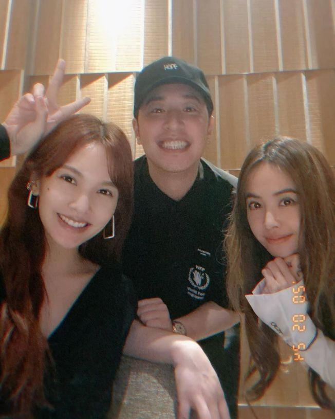 楊丞琳(左)、潘瑋柏(中)與蔡依林同框。圖/摘自IG