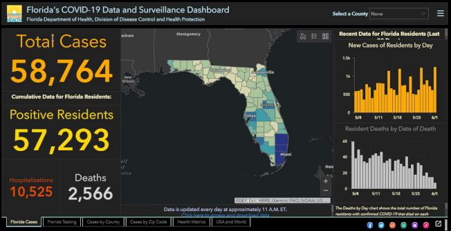 佛州6月3日新冠疫情數據。(截自佛州衛生廳報表)