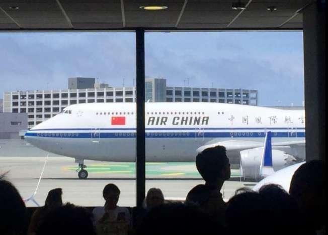舊金山機場的一架中國國航(China Air)航機。(Getty Images)