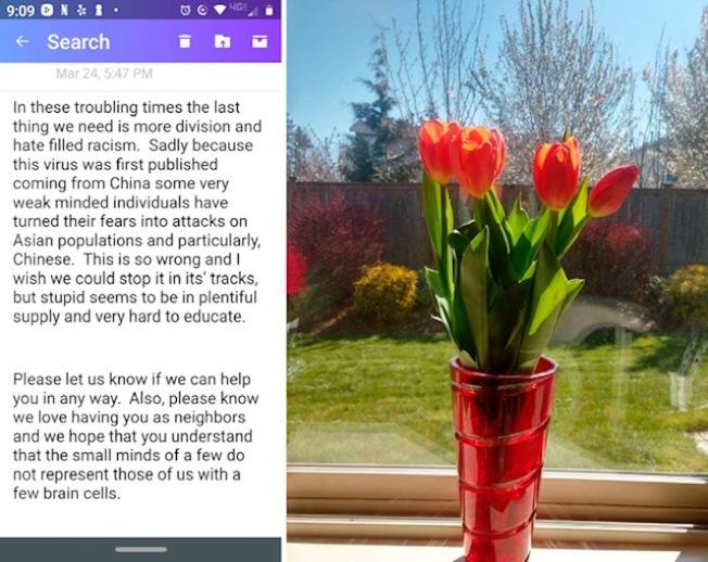 左為來自鄰居的電郵,右是鄰居琳達送來的鬱金香。(作者提供)