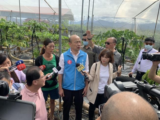 今天是高雄市長韓國瑜罷免投票日,韓國瑜上午8點多在農業局長吳芳銘等人陪同下,到美濃區視察木瓜災損,選擇與農民在一起,對罷韓攻勢冷處理。圖/高雄市政府提供