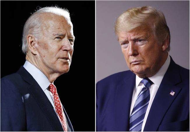前副總統白登(左)5日跨過民主黨總統提名門檻,將於11月總統選舉與尋求連任的川普總統(右)對決。(美聯社)