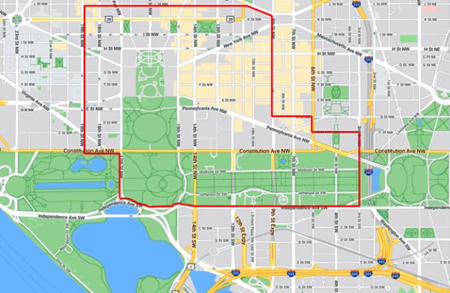 華府6日迎來抗議八天以來最大規模集會示威,部分路段封鎖。(谷歌地圖)