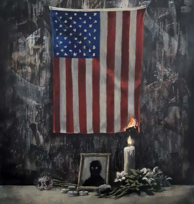 英國塗鴉大師班克西6日發布新作,一盞悼念已逝非裔人士的蠟燭點燃美國國旗的一角。取自Instagram