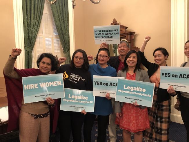 華人權益促進會在多個場合極力支持通過ACA-5修正法案。(圖片由華人權益促進會提供)