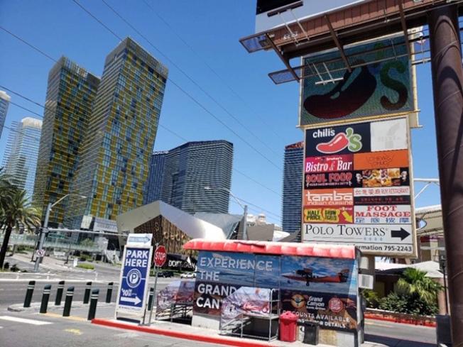 賭城4日重開,許多街道依然冷清。洛杉磯華人在當地拉斯維加斯黃金地段經營17年的足浴店,也退出市場。(劉澄宇提供)