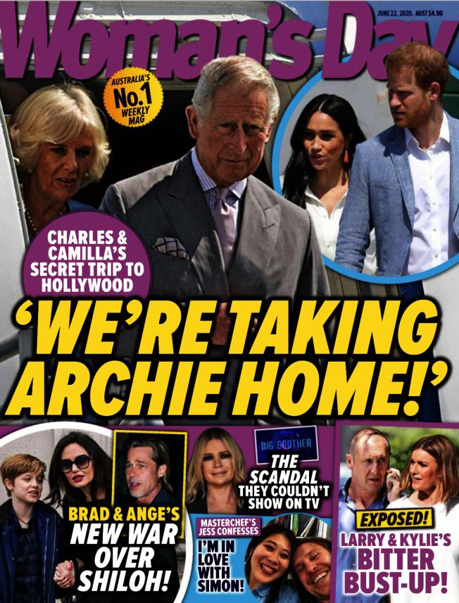 八卦雜誌以封面報導,查理王儲打算和妻子卡蜜拉一起到美國,把愛孫亞契帶回身邊。(取材自Woman's Day)