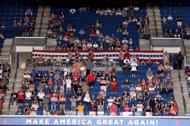川普總統20日在奧克拉荷馬州土耳沙舉行造勢大會,這是自3月2日美國新冠肺炎疫情升高以來,川普首度舉辦造勢大會。現場人數不如預期。(Getty Images)