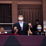 中國職籃CBA復賽 姚明戴口罩觀賽