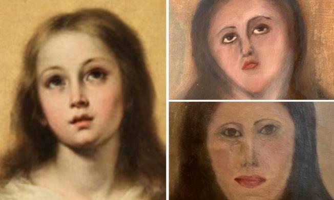 西班牙瓦倫西亞一位私人藝術收藏家請傢具修繕商清潔「聖母無染原罪」複製畫(左),結果是一次修繕毀容(右上),二次修繕水準直接下降成小學生的美術作品(右下)。(畫面翻攝:Twitter/AhabLives)