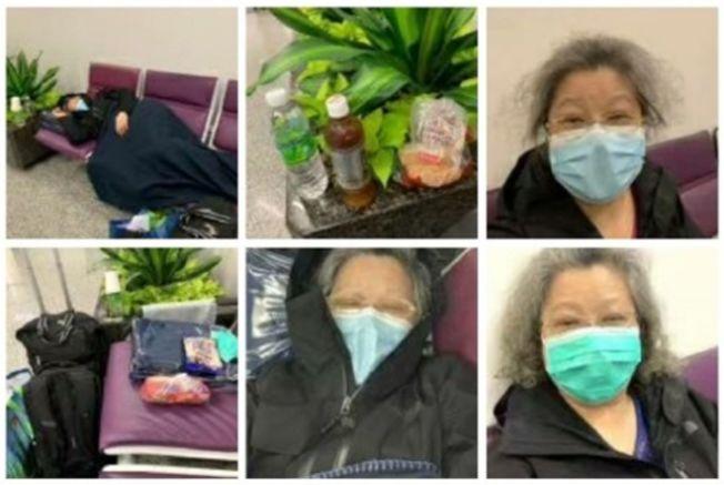 一名內地婦人從英國搭機來港,因無法轉機回內地,在機場已被滯留15天,她無奈發朋友圈求助。(取材自微博)