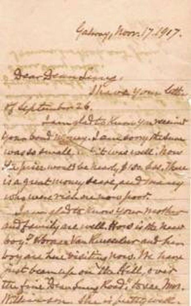 馬萬昌(馬進隆)的後人提供了一封署名為HWC,寫給Dean Lung的信。(取材自澎湃新聞)