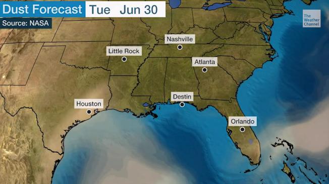 撒哈拉沙塵暴來臨,將影響喬州空氣品質。(Weather Channel影片截圖)