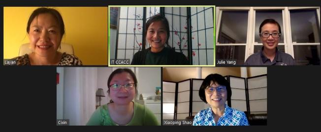 疫情中的親子關係講座,上排左起:張拉燕、陸惠興、楊成華,下排左起王慈欣、邵曉平。(CCACC提供)