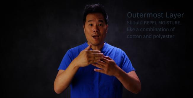 史丹福醫學院教授朱賴瑞(Larry Chu)拍攝影片及寫文,呼籲全民戴口罩,並破除口罩迷思。(史丹福大學提供)