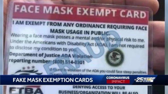 司法部警告,網路上流傳一張卡片宣稱持卡人能合法免戴口罩,這是詐騙,呼籲民眾不要當真。(取自推特)