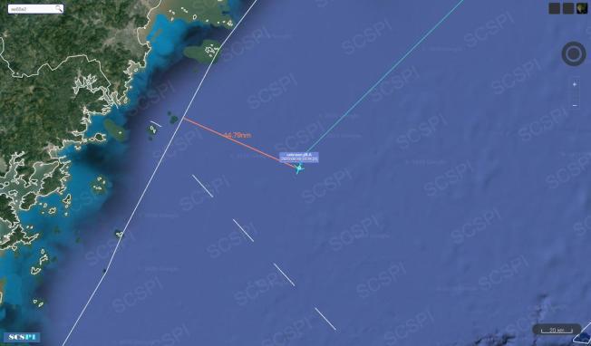 美軍P-8南下時,在閩浙兩省之交,一度距離大陸領海基線不到45海里。(取材自SCS Probing Initiative)