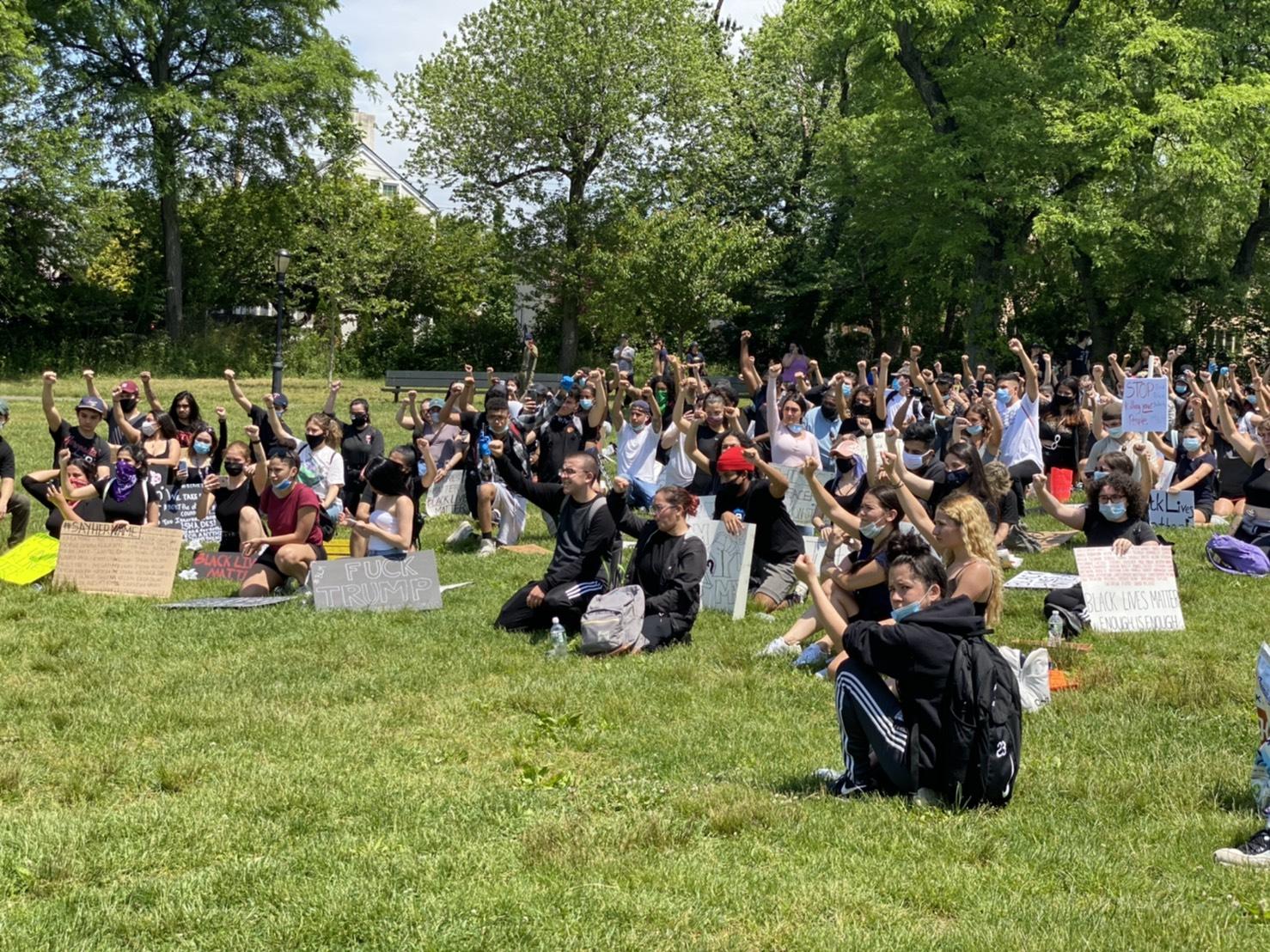 數百名示威遊行者從法拉盛步行至白石鎮法拉西斯路易斯公園(francis lewis park)後,單膝跪地,大呼「黑人的命也是命」。記者牟蘭/攝影